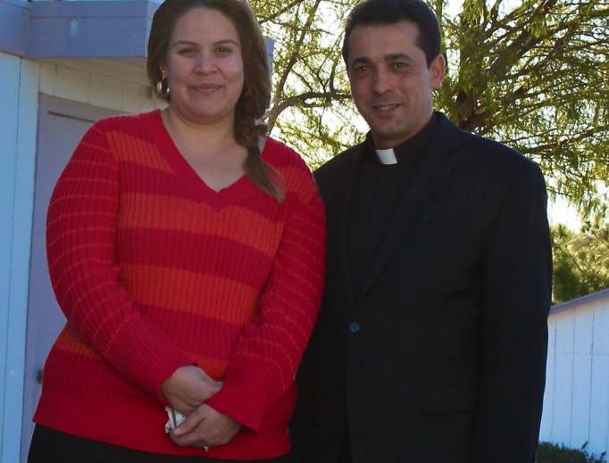 Above, Dafne Gutierrez and Father Wissam Akiki, pastor of St. Joseph Maronite Church; below, the relics of St. Charbel visited the parish last year.