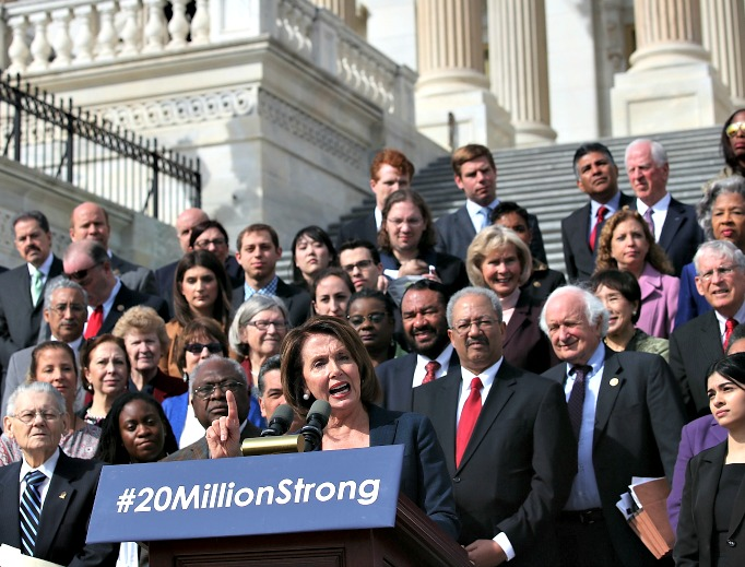 House Minority Leader Nancy Pelosi, D-Calif., speaks on the east front steps of the U.S. Capitol March 23 in Washington, D.C. at a news conference with members of the House Democratic Caucus to mark the sixth anniversary of the Affordable Care Act.