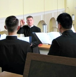 Gregorian chant rehearsal at Our Lady of Guadalupe Seminary in Denton, Neb.