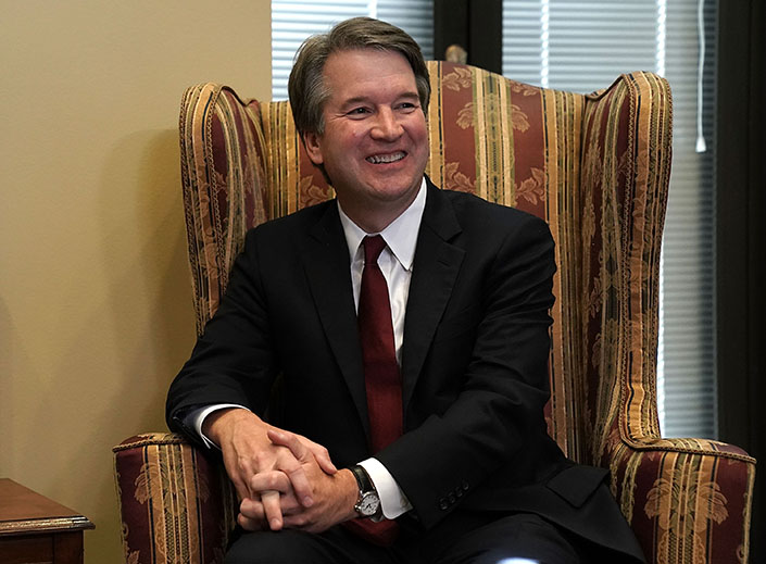 Supreme Court nominee Judge Brett Kavanaugh is shown during a meeting with Sen. Dean Heller, R-Nev., on Capitol Hill July 18 in Washington.