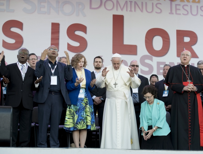 Pope Francis celebrates the 50th anniversary of the Catholic Charismatic Renewal at the Circus Maximus on the vigil of Pentecost, June 3, 2017.