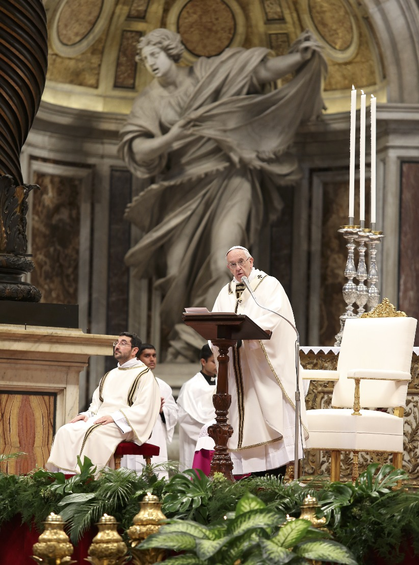 Pope Francis preaching at today's Chrism Mass in St. Peter's basilica, April 13, 2017.