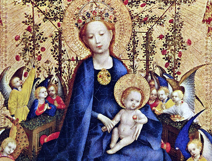 "Stefan Lochner (c. 1400/1410–1451), ""Madonna im Rosenhag"""