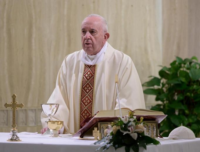 Pope Francis celebrates Mass at Casa Santa Marta on April 20, 2020.