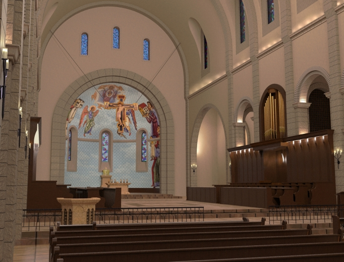 Renderings of what the new abbey will look like.