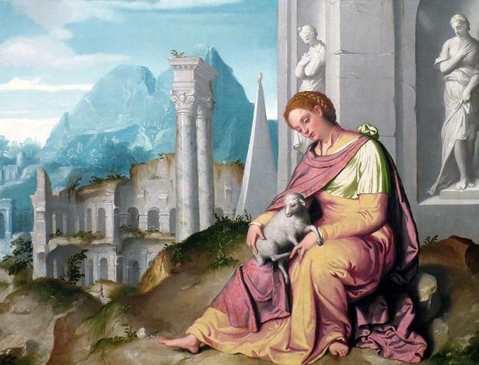 "Giovanni Battista Moroni, ""Saint Agnes"", ca. 1576"