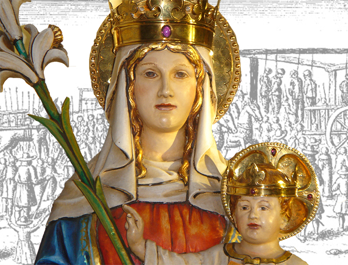 A statue of Our Lady of Walsingham with an illustration of Tyburn Tree, site of the execution of a large number of English martyrs.
