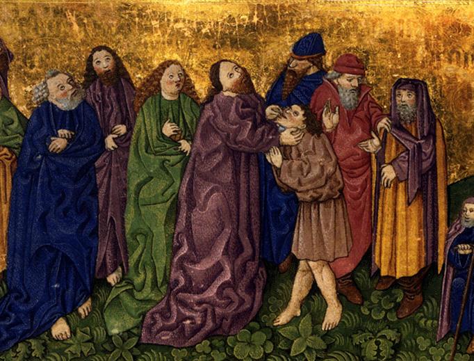 Ottheinreigh Folio, Page 55v: Healing of a deaf-mute, Mark 7:31-37