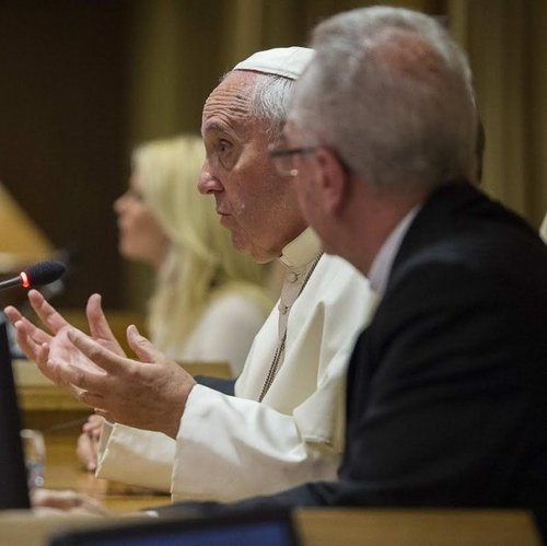 Pope Francis speaks at the two-day conference on climate change and modern slavery in Rome, hosted by the Vatican's Pontifical Academies of Sciences and Social Sciences.