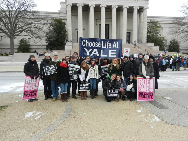 Students part of Choose Life at Yale at the March for Life