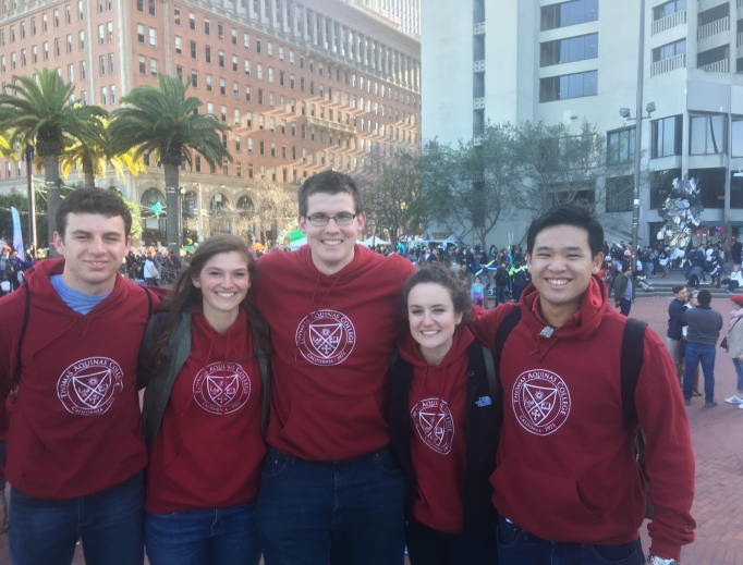 Above, Thomas Aquinas College students at the Walk for Life West Coast in San Francisco. Below, David Daleiden and other participants, including those from LIFE Runners and students from the University of Colorado-Boulder, as well as seminarians.