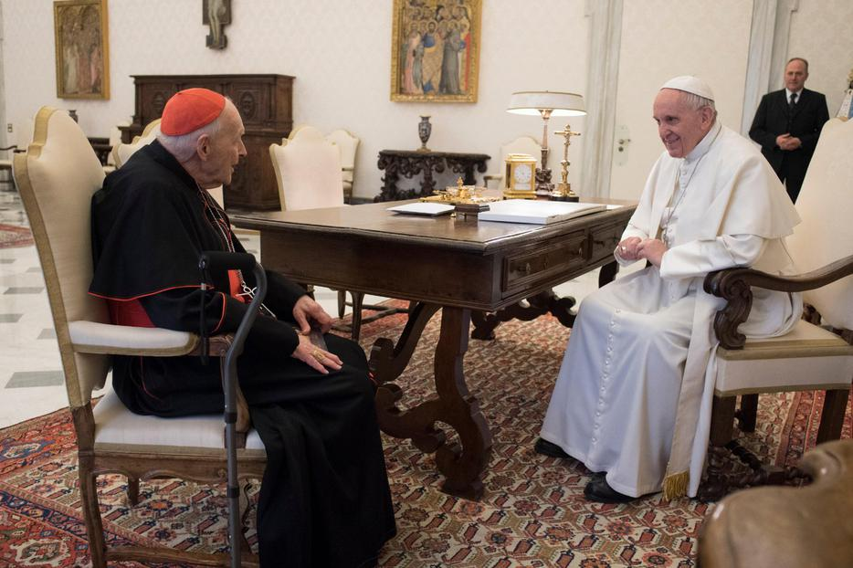 Pope Francis and then-Cardinal Theodore McCarrick meet at the Vatican, July 24, 2018.