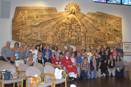 ALMOST HOME. St. Pius pilgrimage group at the St. Thérèse shrine in Illinois.
