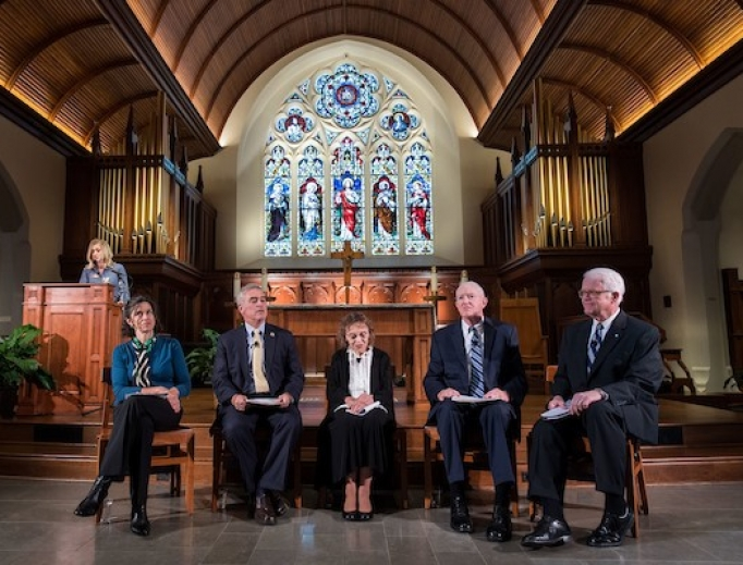 Panel at Oct. 2 pro-life event at Georgetown University. EWTN host Catherine Szeltner is shown introducing the speakers.
