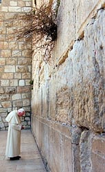 Pope John Paul II at Jerusalem's Western Wall in 2000. Pope Benedict XVI will visit there May 12.