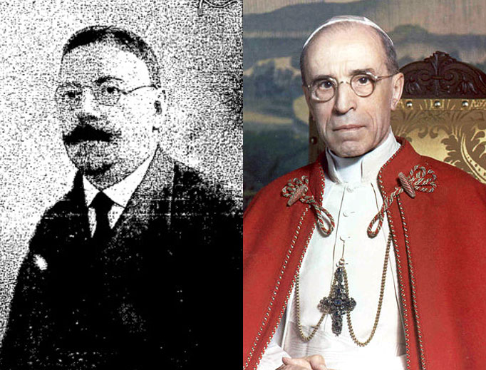Left to right: Israel Zolli and Pope Pius XII