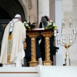 Pope Francis venerates the relics of St. Peter on Nov. 24 in St. Peter's Square.