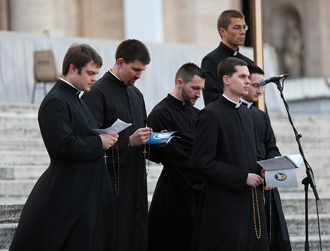 Seminarians from the North American College in Rome pray the Rosary in St. Peter's Square for Pope Francis on March 13, 2016.