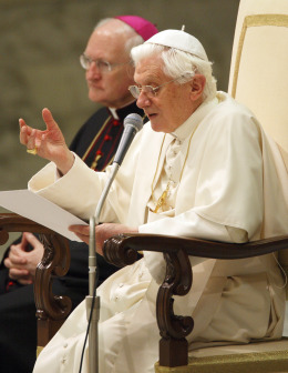 Pope Benedict delivers his weekly catechesis in Paul VI hall.