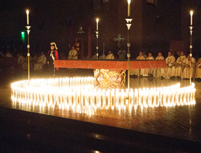 Candles at Requiem Mass for the Unborn representing the number of lives lost to abortion that day in Southern California alone.