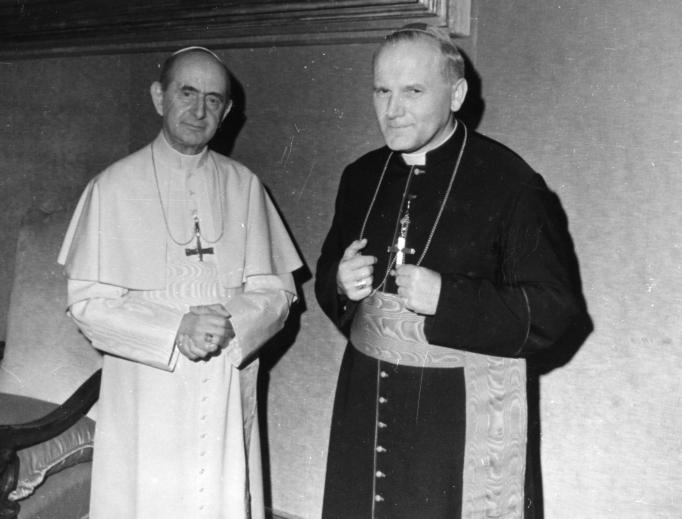 Pope Paul VI (l) greets his future successor, Cardinal Karol Wojtyla of Krakow, at the Vatican. Pope Paul and St. John Paul II were the leading moral voices on human sexuality and marriage in the last half of the 20th century.