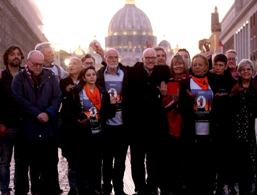 ECA (Ending Clergy Abuse) activists, deaf victims of childhood sexual abuse by Catholic clergy from Argentina, attorneys and survivors from different countries attend a twilight vigil Feb. 22 in Rome.