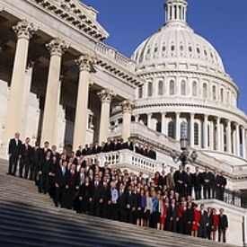 FRESHMAN FACES. New House of Representatives members of the 112th Congress pose on the House steps of the U.S. Capitol in Washington.