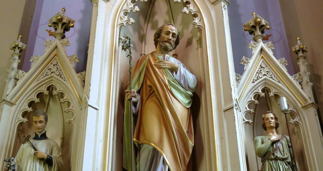 All Saints Catholic Church with St. Josephs Statue in St. Peters, Missouri