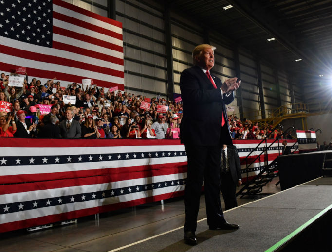 President Donald Trump attends a campaign rally in Pensacola, Florida on Nov. 3.