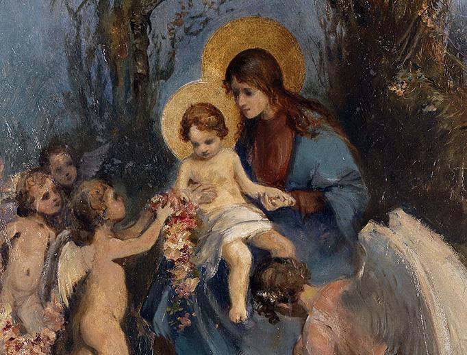 """Attributed to Carl Rahl (1812-1865), """"Ein Blumenkranz für das Jesuskind"""""""