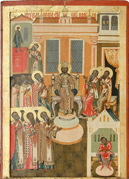 Russian icon depicting the First Council of Nicaea