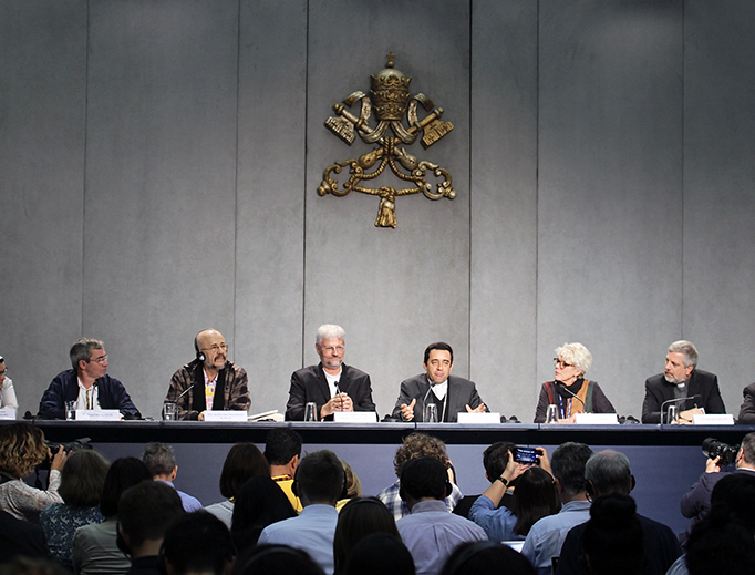 Amazon Synod participants address the daily media conference at the Vatican Oct. 25.