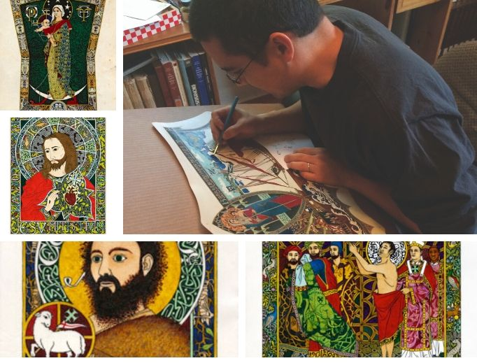 Indiana artist Daniel Mitsui carefully crafts each work of art, including Our Lady of Seattle, the Sacred Heart and other saintly depictions, including St. John the Baptist and St. Francis.
