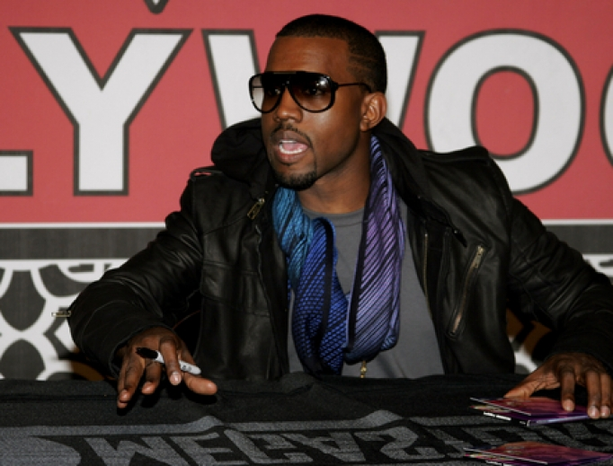 Kanye West during an album signing in Los Angeles, 2007.