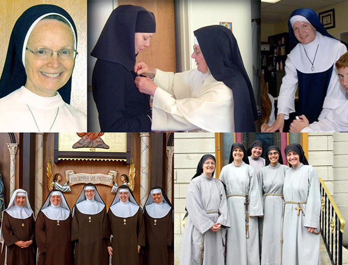 TOP (L TO R): Sr. Joseph Andrew, Mother Mary Augustine, Mother Teresa Christe. BOTTOM: Our Lady of Solitude, Mother Lucille