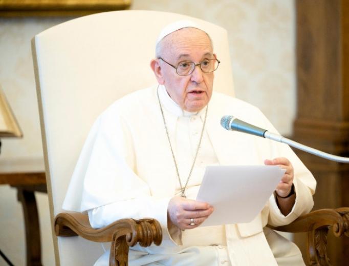 Pope Francis speaks during his weekly general audience on June 8, 2020.