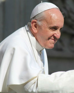 Pope Francis greets the faithful on May 8.