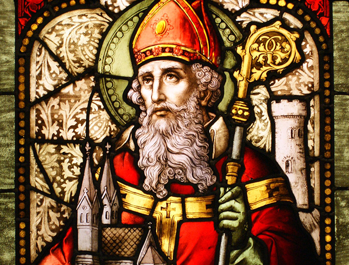 Saint Patrick stained glass window from Cathedral of Christ the Light, Oakland, California.