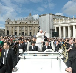 Pope Francis holds his first general audience March 27 in St. Peter's Square.