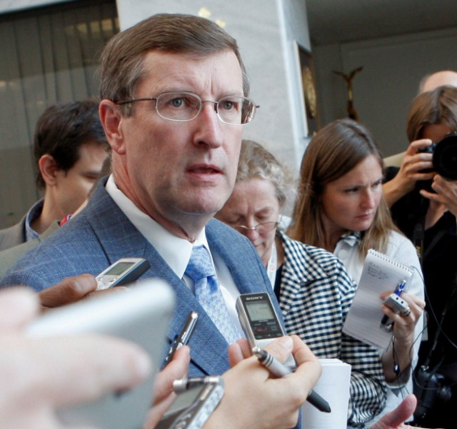 Sen. Kent Conrad, D-N.D., speaks yesterday to reporters about health-care reform.
