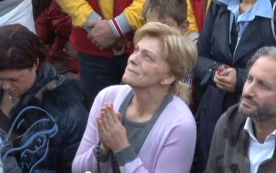 """Seer"" Mirjana receiving an apparition in Medjugorje. Nov. 2, 2012."