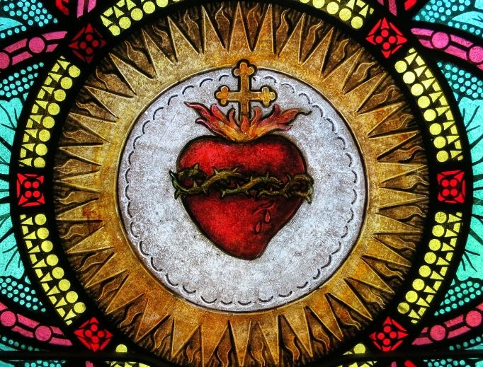 A window in All Saints Catholic Church in St. Peters, Missouri, features the Sacred Heart.