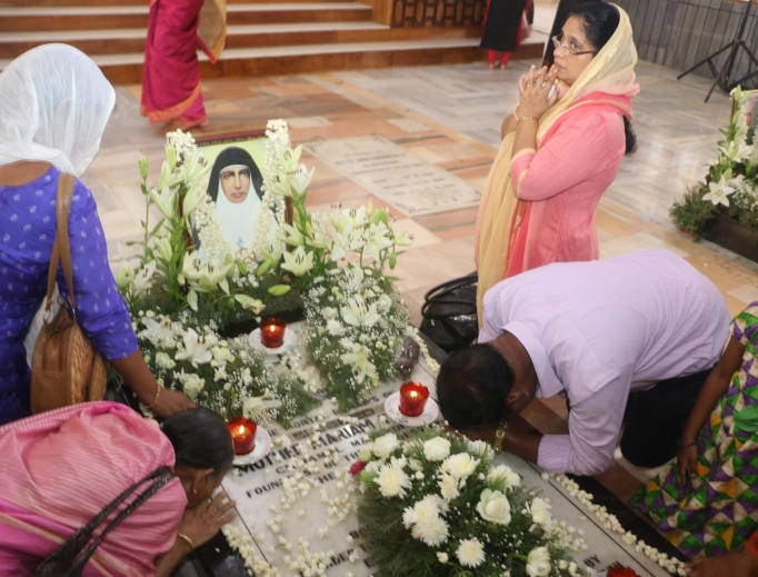 Devotees flock to the tomb of Blessed Mariam Thresia Chiramel Mankidiyan on her June 8 feast day.