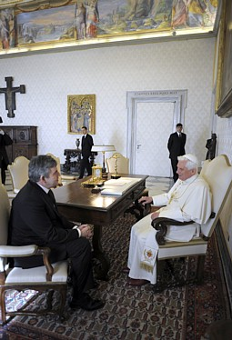 Pope Benedict XVI speaks with Britain's Prime Minister Gordon Brown during their meeting at the Vatican Feb. 19, 2009.