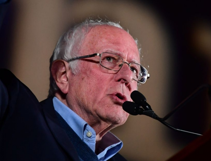 Democratic presidential hopeful Vermont Sen. Bernie Sanders speaks during a rally at Springs Preserve Amphitheater in Las Vegas on Feb. 21.