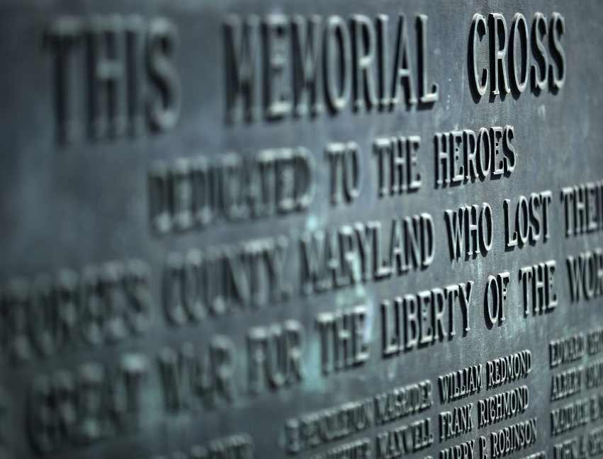 A detail from the plaque at the base of a 40-foot cross that honors 49 fallen World War I soldiers from Prince George's County Feb. 28, 2019, in Bladensburg, Maryland.