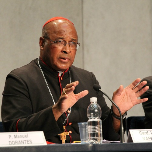 Cardinal Wilfrid Napier speaks at the Vatican Press Office on Oct. 14, 2014.