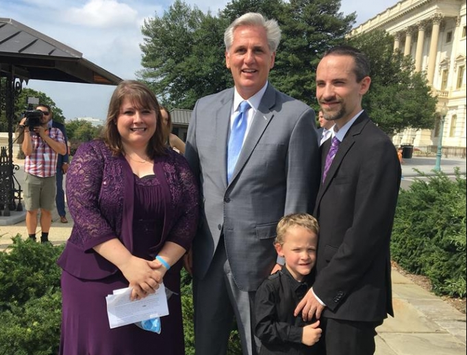 House Majority Leader Kevin McCarthy (c) with Danielle and Clayton Pickering, and their son Micah, from Iowa City, Iowa. Micah was born prematurely at 20 weeks. The House passed the Pain-Capable Unborn Child Protection Act Oct. 3, which would ban most abortions after 20-weeks gestation.
