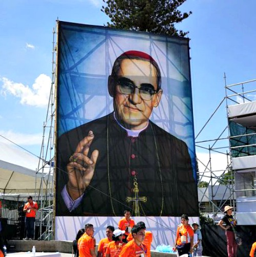 An image of Blessed Oscar Romero in San Salvador, El Salvador, after his beatification.