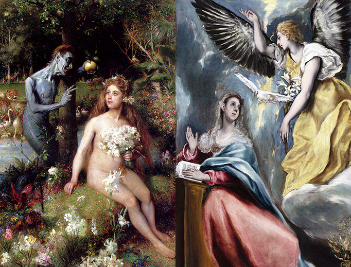 "LEFT: Pierre Jean van der Ouderaa, ""The Temptation of Eve"", 1910. RIGHT: El Greco, ""The Annunciation"", ca. 1605."